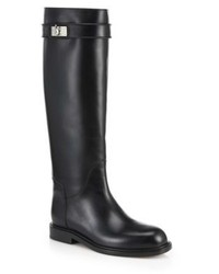 Givenchy Shark Lock Leather Knee High Boots
