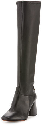 0ee3d736e68f ... Tory Burch Sidney Leather 70mm Knee Boot Black ...