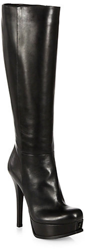 Fendi Sta Leather Knee High Platform Boots | Where to buy & how to ...