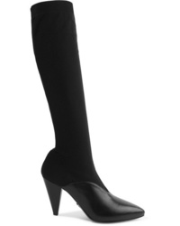 Prada Stretch Knit And Leather Knee Sock Boots