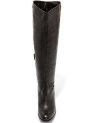 ae739010409 ... Diba True City Glaze Black Leather Knee High Heel Boots