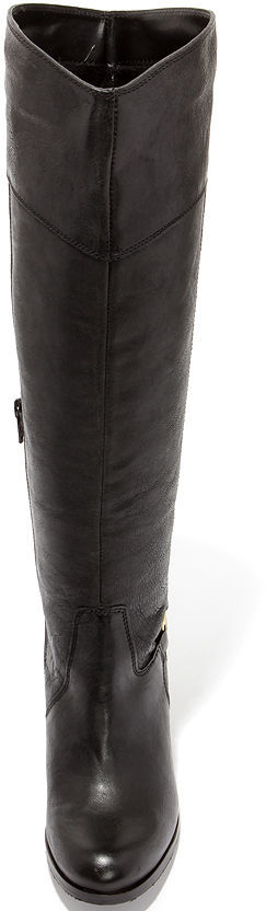 28dd09892db Diba True City Glaze Black Leather Knee High Heel Boots