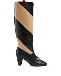 Gucci Zummi Gg Horsebit Striped Knee High Boots