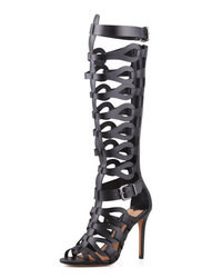 Black Leather Knee High Gladiator Sandals