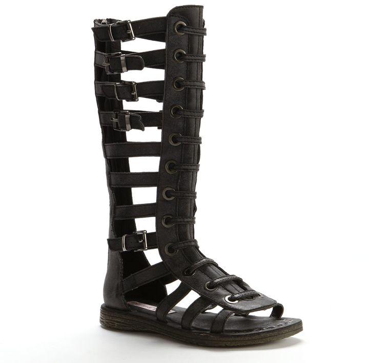 a4a7a322f80 ... Black Leather Knee High Gladiator Sandals 2 Lips Too Too Frenzy Knee  High Gladiator Sandals ...