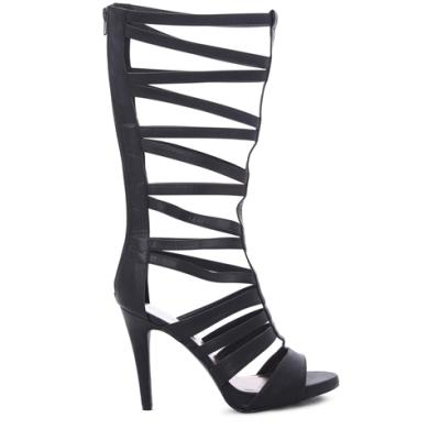 Deb Tall Gladiator Heels With Small Platform And Cutouts Black ...