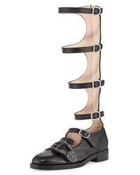Leather brogue gladiator boot black medium 4016387