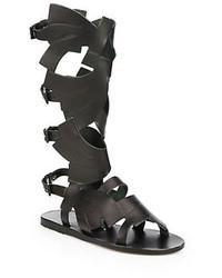 Carven Leather Knee High Gladiator Sandals