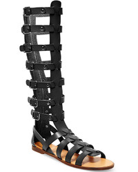 9ca7585aaa94 Women s Black Leather Knee High Gladiator Sandals by Madden-Girl ...