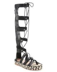 Loeffler Randall Sacha Tall Leather Gladiator Espadrille Sandals
