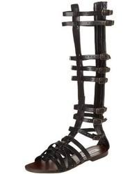 68efbdaa8037 Women s Black Leather Knee High Gladiator Sandals from Amazon.com ...