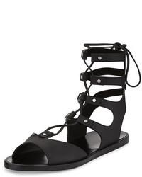 Vince Niva Leather Lace Up Flat Gladiator Sandal Black