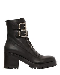70mm Leather Lace Up Boots