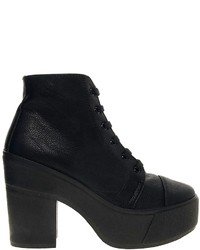Asos All Good Things Lace Up Ankle Boots Black