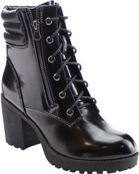 Beston Brutal 01 Ankle Boot Black Patent Faux Leather Boots