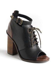 Kelsi Dagger Bina Leather Peep Toe Ankle Boots
