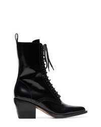 Chloé Black 60 Lace Up Leather Boots