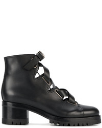 Valentino Garavani Black Lace Up Ankle Boots