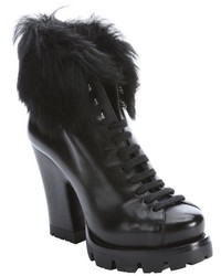 Prada Black Leather And Dyed Sheep Lug Sole Platform Ankle Boots