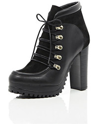 River Island Black Leather And Suede Heeled Ankle Boots
