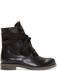 Chloé Black Leather Lace Up Ankle Boots