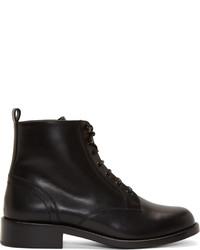 Saint Laurent Black Leather Ranger Lace Up Ankle Boots