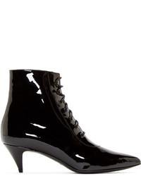 Saint Laurent Black Patent Cat Ankle Boots