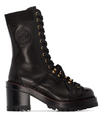 Versace Black Tribute Lace Up Ankle Boots