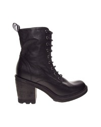 Bronx Lace Up Heeled Worker Ankle Boots