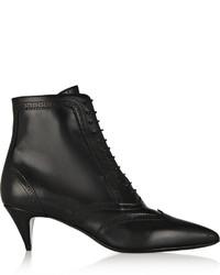 Saint Laurent Cat Brogue Style Leather Ankle Boots