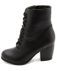 Charlotte Russe Chunky Heeled Lace Up Booties