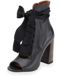 Chloé Chloe Open Toe Leather Lace Up 70mm Ankle Boot Black