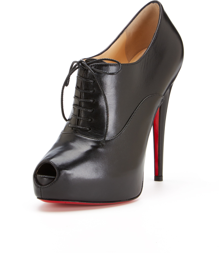 christian louboutin fakes - Christian Louboutin Miss Poppins Leather Peep Toe Platform Bootie ...