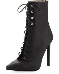 Jeffrey Campbell Elphaba Grainy Leather Lace Up Bootie Black