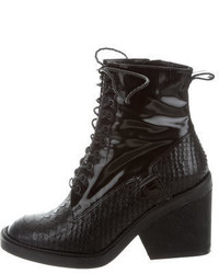 Robert Clergerie Embossed Lace Up Ankle Boots