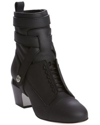 Fendi Black Grained Leather Harness Detail Heel Ankle Boots