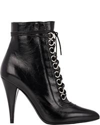 Saint Laurent Fetish Lace Up Boots Black