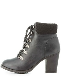 Charlotte Russe Fleece Trim Ankle Booties