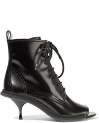 Maison Margiela Lace Up Glossed Leather Ankle Boots