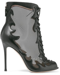 Gianvito Rossi Lace Up Leather And Mesh Ankle Boots