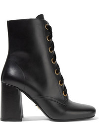 Prada Lace Up Leather Ankle Boots Black