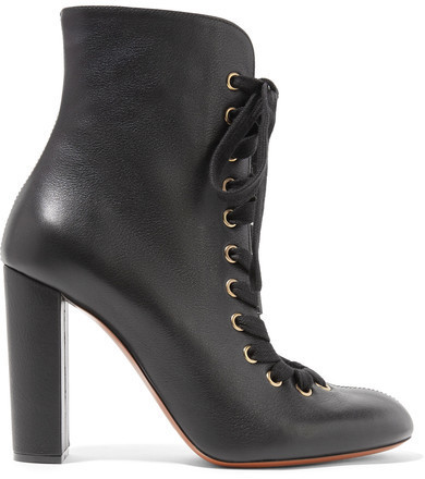 Chloé Lace Up Leather Ankle Boots Black