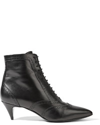 Saint Laurent Lace Up Leather Ankle Boots