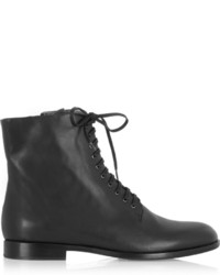 Jil Sander Navy Lace Up Leather Ankle Boots