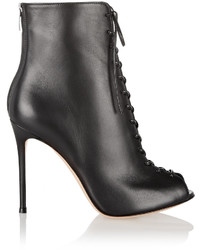 Gianvito Rossi Lace Up Leather Peep Toe Ankle Boots