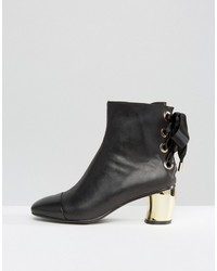 Lavish Alice Leather Lace Up Ankle Boots With Metallic Heel