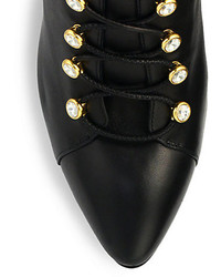 Giuseppe Zanotti Leather Crystal Detail Lace Up Booties