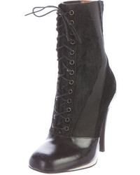 Fendi Leather Lace Up Ankle Boots