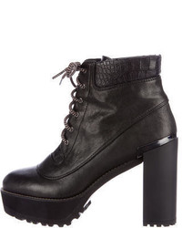 Stuart Weitzman Leather Lace Up Ankle Boots