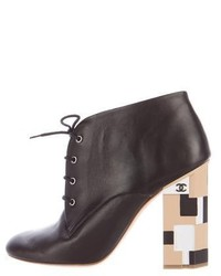 Chanel Leather Lace Up Ankle Boots